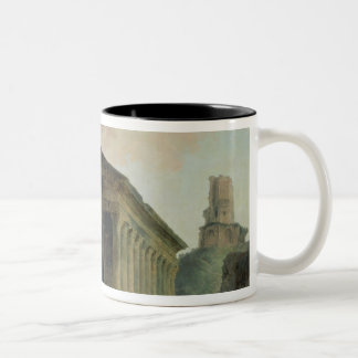 The Maison Carree with the Amphitheatre Two-Tone Coffee Mug
