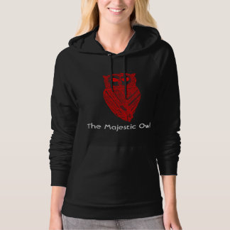 The Majestic Owl Hoodie (Red Owl White text