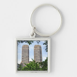 The Majestic Towers- Central Park West Silver-Colored Square Keychain