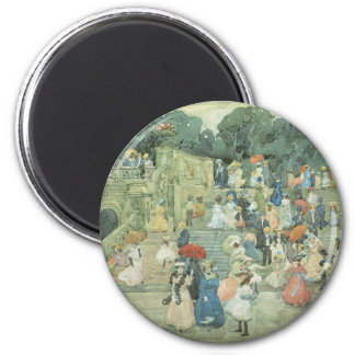 The Mall, Central Park by Maurice Prendergast 2 Inch Round Magnet