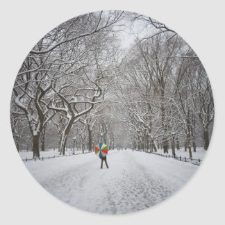 The Mall in Winter, Central Park, New York City Classic Round Sticker