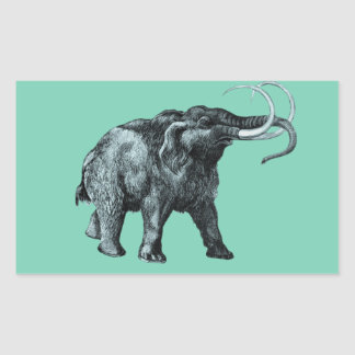 The mammoth, Primal elephants from the past. Rectangular Sticker