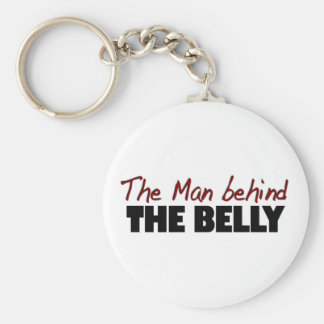 The Man Behind The Belly Basic Round Button Keychain