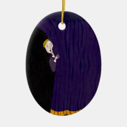 The Man Behind The Curtain Ceramic Ornament