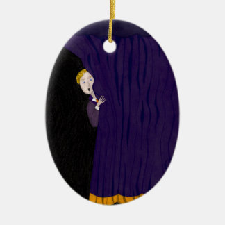 The Man Behind The Curtain Double-Sided Oval Ceramic Christmas Ornament