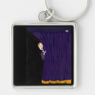The Man Behind The Curtain Silver-Colored Square Keychain