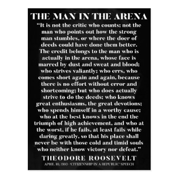 wordstolivebydesign The Man in the Arena - motivational postcard