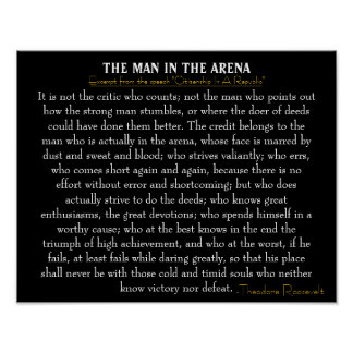 'The Man In The Arena' Poster