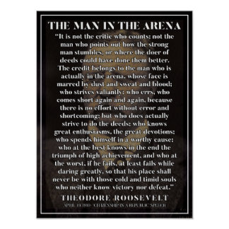 The man in the arena - Powerful motivation poster
