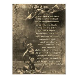 """""""The man in the arena"""" Theodore Roosevelt sepia Poster"""