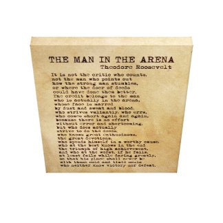 The Man In The Arena Theodore Roosevelt Vintage Canvas Print