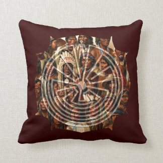 The Man in the Maze - folk style Throw Pillows
