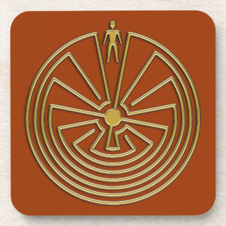 The Man in the Maze - gold Beverage Coasters
