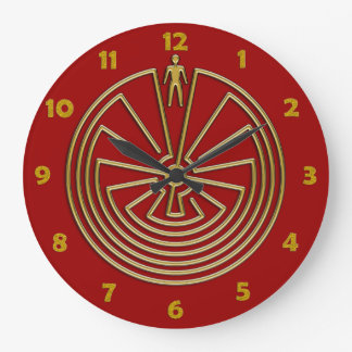 The Man in the Maze - gold Large Clock