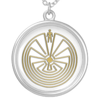 The Man in the Maze - gold Round Pendant Necklace