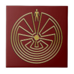 The Man in the Maze - gold Small Square Tile