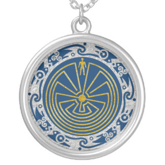 The Man in the Maze - Ornament gold silver Round Pendant Necklace