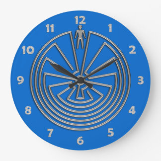 The Man in the Maze - silver Large Clock