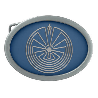 The Man in the Maze - silver Oval Belt Buckle
