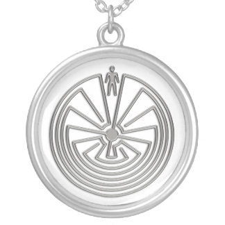The Man in the Maze - silver Round Pendant Necklace