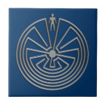 The Man in the Maze - silver Small Square Tile