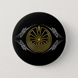 The Man in the Maze - Tribal gold silver Pinback Button