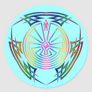 The Man in the Maze - Tribal Tattoo colored Classic Round Sticker