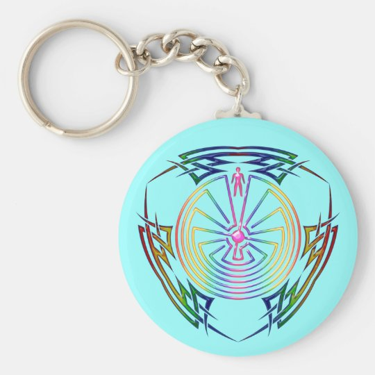 The Man In The Maze Tribal Tattoo Colored Keychain Zazzlecom