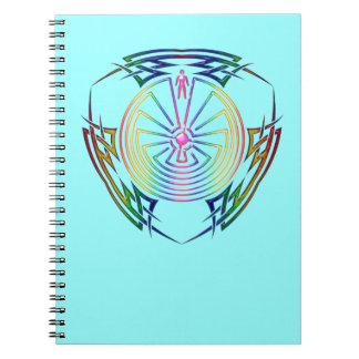 The Man in the Maze - Tribal Tattoo colored Spiral Note Book