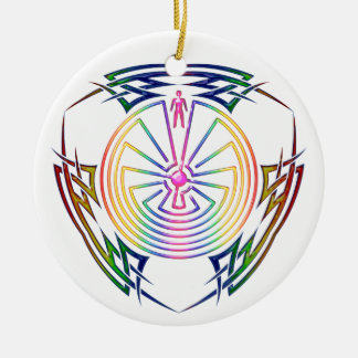 The Man in the Maze - Tribal Tattoo colored Double-Sided Ceramic Round Christmas Ornament