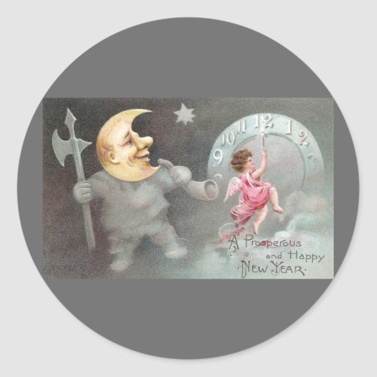 The Man in the Moon Vintage New Year's Day Classic Round Sticker