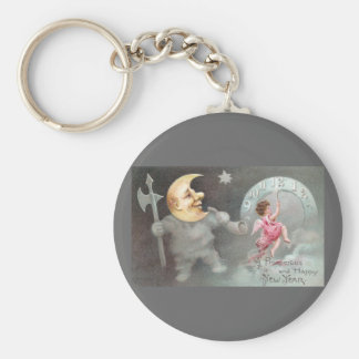 The Man in the Moon Vintage New Year's Day Keychain