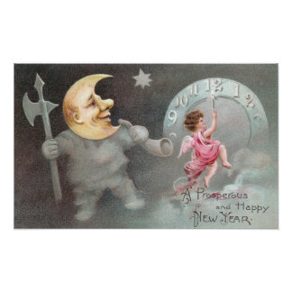 The Man in the Moon Vintage New Year's Day Poster