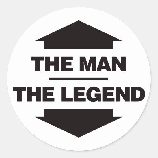 The Man The Legend - Black Classic Round Sticker