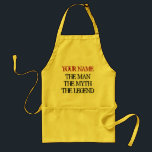 "The man the myth the legend aprons for men<br><div class=""desc"">The man the myth the legend aprons for men. Cool BBQ apron for men with funny quote for the barbecue king. Cute gift idea for father, uncle, grandpa, boyfriend, husband, brother etc. Personalizable text. Vintage style. Make your own and add your name. ie. Frank, Dave, Joe, Mike, Tony etc. Light...</div>"