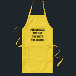 """The man the myth the legend BBQ aprons for man<br><div class=""""desc"""">The man the myth the legend BBQ aprons for man Funny Birthday or Christmas gift idea for chef cook dad,  father,  uncle,  husband,  brother,  son etc. Personalize with custom name. Barbecue aprons in yellow beige and white.  Short and long version.</div>"""