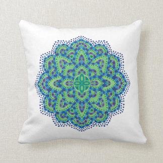 The Mandala-Cool Emerald Throw Pillow