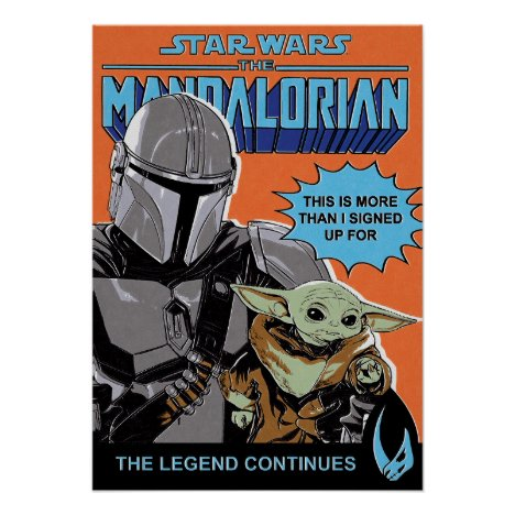 The Mandalorian and Child Retro Comic Style Cover Poster