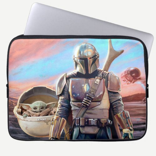 The Mandalorian And The Child At Sunset Laptop Sleeve