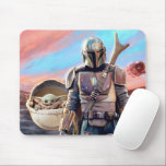 "The Mandalorian And The Child At Sunset Mouse Pad<br><div class=""desc"">Get ready to join Mando and The Child as they journey throughout the galaxy aboard the Razor Crest. Taking on many challenges along the way and meeting an array of different characters, this is the dream team to have on your side on any intergalactic mission. This classic image can be...</div>"
