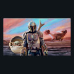 "The Mandalorian And The Child At Sunset Poster<br><div class=""desc"">Get ready to join Mando and The Child as they journey throughout the galaxy aboard the Razor Crest. Taking on many challenges along the way and meeting an array of different characters, this is the dream team to have on your side on any intergalactic mission. This classic image can be...</div>"