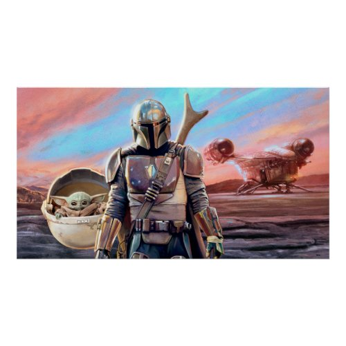 The Mandalorian And The Child At Sunset Poster