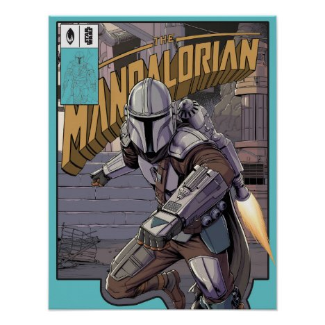 The Mandalorian Comic Book Style Cover Poster