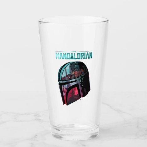 The Mandalorian Helmet Reflections Collage Glass