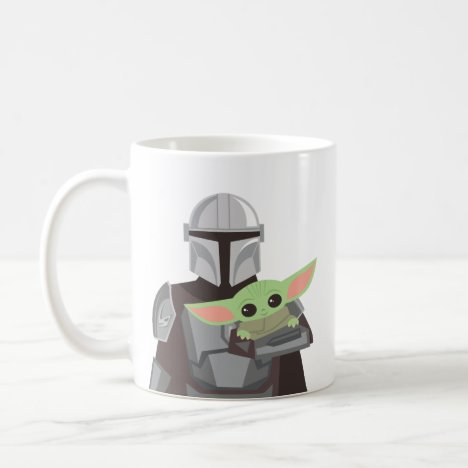 The Mandalorian Holding Child Illustration Coffee Mug