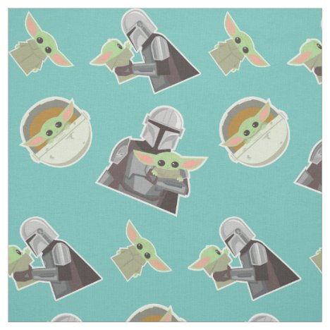 The Mandalorian Holding Child Illustration Fabric