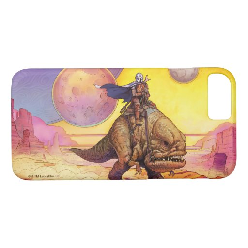 The Mandalorian Riding Blurrg Through Desert iPhone 8/7 Case