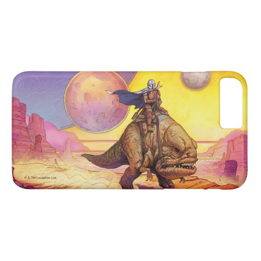 The Mandalorian Riding Blurrg Through Desert iPhone 8 Plus/7 Plus Case