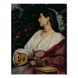 The Mandolin Player, 1865 Poster