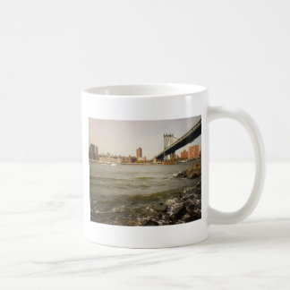The Manhattan Bridge, A Riverfront View Coffee Mug